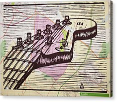 Fender Strat On Map Acrylic Print by William Cauthern