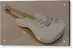 Fender Stratocaster In White Acrylic Print by James Barnes