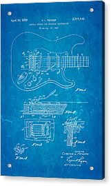 Fender Stratocaster Tremolo Arm Patent Art 1956 Blueprint Acrylic Print by Ian Monk