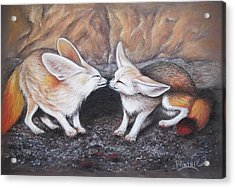 Acrylic Print featuring the drawing Fennec Love by Patricia Lintner