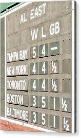 Fenway Park Al East Scoreboard Standings Acrylic Print by Susan Candelario
