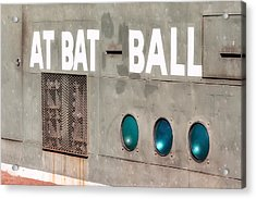 Fenway Park At Bat - Ball Scoreboard Acrylic Print by Susan Candelario