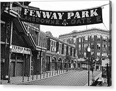 Fenway Park Banner Black And White Acrylic Print by Toby McGuire