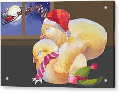 Baby Chicks Night Before Christmas Acrylic Print