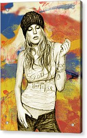 Fergie - Stylised Drawing Art Poster Acrylic Print by Kim Wang