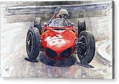 Ferrari 156 Sharknose Phil Hill Monaco 1961 Acrylic Print by Yuriy Shevchuk