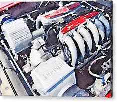 Ferrari 512 Tr Testarossa Engine Watercolor Acrylic Print by Naxart Studio