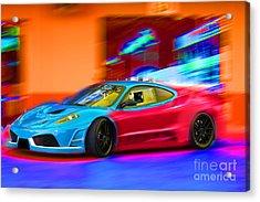 Acrylic Print featuring the photograph Ferrari Baby Blue by Gunter Nezhoda
