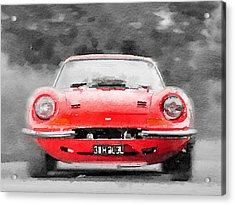 Ferrari Dino 246 Gt Front Watercolor Acrylic Print by Naxart Studio