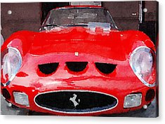 Ferrari Front End Monterey Watercolor Acrylic Print by Naxart Studio