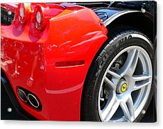 Acrylic Print featuring the photograph Ferrari Rear Panel And Tire by Jeff Lowe