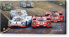 Ferrari Vs Porsche 1970 Watkins Glen 6 Hours Acrylic Print by Yuriy  Shevchuk