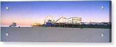 Ferris Wheel Lit Up At Dusk, Santa Acrylic Print by Panoramic Images