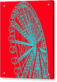 Ferris Wheel Silhouette Turquoise Red Acrylic Print