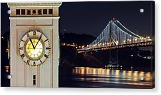Ferry Building And Bay Bridge Acrylic Print