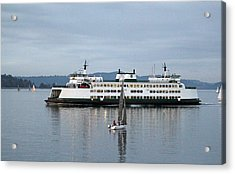 Acrylic Print featuring the photograph Ferry Issaquah And Sailboats by E Faithe Lester