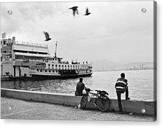 Ferryboat In Karsiyaka Port In Izmir Acrylic Print by Ilker Goksen
