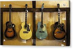 Festive Acoustic Guitars All In A Row Acrylic Print