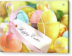 Festive Easter Eggs Acrylic Print by Sandra Cunningham
