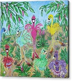 Festive Flamingos Acrylic Print