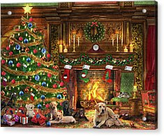 Festive Labradors Acrylic Print