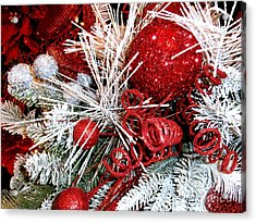 Festive Red And White Acrylic Print by Janine Riley