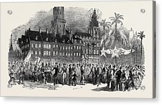 Fete At Calais, Musical Procession In The Grande Place Acrylic Print by English School