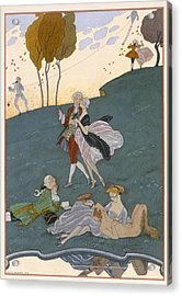 Fetes Galantes Acrylic Print by Georges Barbier