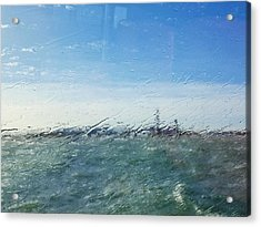 Field And Sky Seen Through Wet Glass Window Acrylic Print by Massimiliano Ranauro / EyeEm