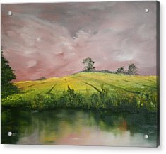 Acrylic Print featuring the painting Field Of Rapeseed Oil by Jean Walker