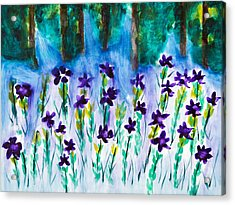 Field Of Violets Acrylic Print by Frank Bright