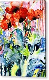 Field Poppies Acrylic Print by Trudi Doyle