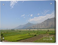 Acrylic Print featuring the photograph Fields Mountains Sky And A River Swat Valley Pakistan by Imran Ahmed