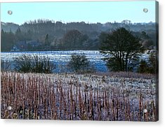 Fields Of Frost Acrylic Print by Karen Grist