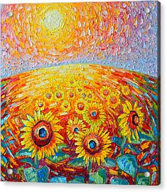 Fields Of Gold - Abstract Landscape With Sunflowers In Sunrise Acrylic Print