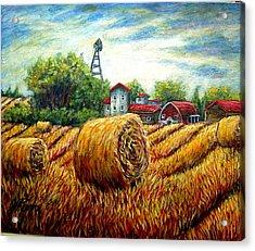 Fields Of Hay Acrylic Print by Sebastian Pierre