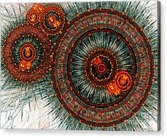 Fiery  Clockwork Acrylic Print by Martin Capek