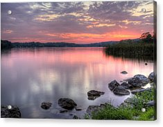 Fiery Lake Sunset Acrylic Print