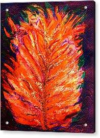 Fiery Leaf Acrylic Print by Anne-Elizabeth Whiteway