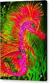 Fiery Sea Horse Acrylic Print by Adria Trail