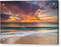 Fiery Skies Azure Waters Rendezvous Acrylic Print by Photography  By Sai
