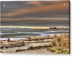 Fiery Sky Over The Salish Sea Acrylic Print by Randy Hall