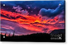 Fiery Sunrise At Glacier National Park Acrylic Print