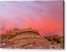 Fiery Sunrise Clouds Over Badlands Acrylic Print