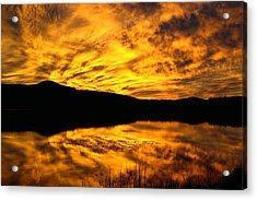 Fiery Sunrise Over Medicine Lake Acrylic Print by Rich Rauenzahn