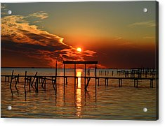 Fiery Sunset Colors Over Santa Rosa Sound Acrylic Print by Jeff at JSJ Photography