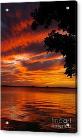 Fiery Sunset Acrylic Print by Tannis  Baldwin
