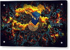 Acrylic Print featuring the painting Fiery Time Vortex by Digital Art Cafe