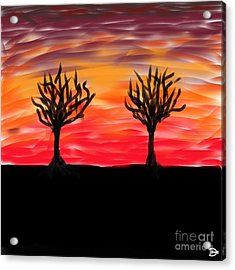 Acrylic Print featuring the digital art Fiery Twins by Andy Heavens