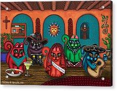 Fiesta Cats II Acrylic Print by Victoria De Almeida